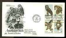 1763a BLOCK of 4 OWLS FDC FAIRBANKS, AK ARTCRAFT CACHET