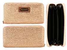 WOMEN'S TEXTURED PURSE WALLET CARD SLOTS NOTE SECTIONS COIN POCKET GOLD