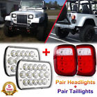 For Jeep Wrangler Yj 87-95 7x6 Led Headlights Hi-lo Beam White Red Tail Lights