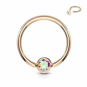 Piercing Ring Captive Gold Rose Crystal Aurore Borealis