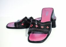 Nicole Black/Pink Woven Leather Slide Sandals Size 7.5