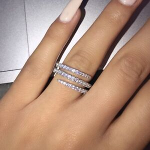 Infinity Jewelry 925 Silver Rings Cubic Zirconia for Women Party Rings Size 6-10