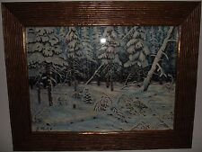 ELISEE MACLET- SNOW SCENE IN FOREST- OIL ON CANVAS- EXCEPTIONAL!