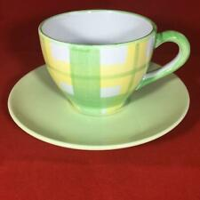 Guy Degrenne, Green / Yellow Check, 2 Cups & Saucers
