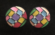 ABSTRACT COLORFUL RHINESTONE EARRINGS SKU115518P