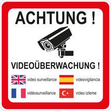 """1 Stück Aufkleber """"Achtung Videoüberwachung"""" 90x90 mm, 5-sprachig selbstklebend"""