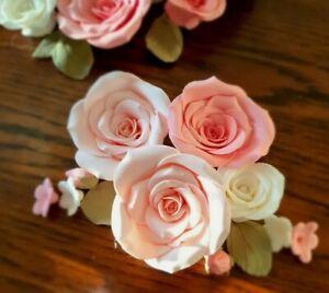 Zuckerrosen 7-9cm 4 Stck mit Zuckerblättern/blumen Hochzeit, Taufe Weiß o. Rosa