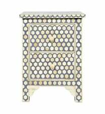 Bone Inlay Bedside Table Home Decor Purpose Attractive Design Beautiful End Tabl