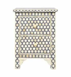 Bone Inlay Bedside Table Home Decor Purpose Attractive Design Beautiful End Tabl