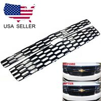 For 2015-2020 Chevy Tahoe Suburban LS/LT GLOSS BLACK Grille Overlay Covers Grill