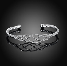 Twisted Silver-Plated CrissCross Mesh Cuff Bangle Bracelet
