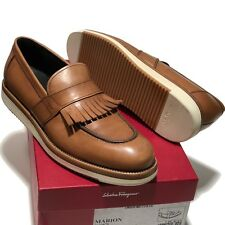 FERRAGAMO Tassel MARION Moccasin Brown Leather Loafers Men's Dress Shoes Casual