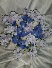 Perriwinkle blue lilac wedding flowers 24pc set. Hand-tied bouquet