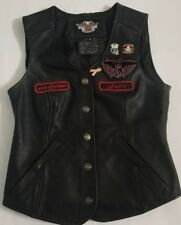 HARLEY- DAVIDSON Womens black leather button down vest Size Small
