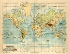 1886 WORLD MAP in MERCATOR PROJECTION Antique Map