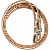 """Western Natural Leather 5/8"""" Wide Split Leather Reins with Silver Buckles"""