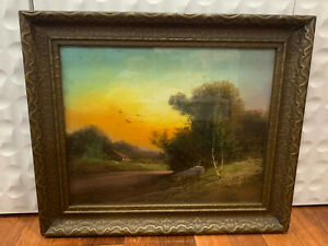 Antique Signed Phillips Chalk / Pastel Landscape Drawing w/ Roadway Path House