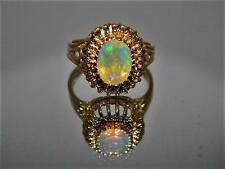 Vintage Hand Made 14K Gold Ring w Mesmerizing Faceted Ethiopian Fire Opal sz 7.5
