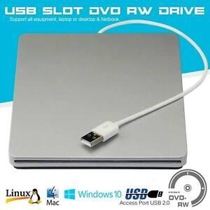 USB 2.0 External Slot CD-RW DVD-RW Drive Ultra Slim Player Burner Writer Rewrite