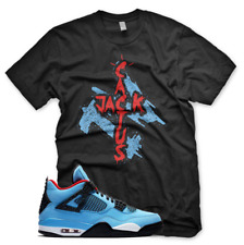 "Black ""CACTUS JACK"" T Shirt for Jordan 4 IV Cactus Jack University Blue UNC"