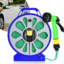 1Set Flat Garden Hose Reel & Pipe Outdoor with Spray Nozzle Plants Watering 50ft