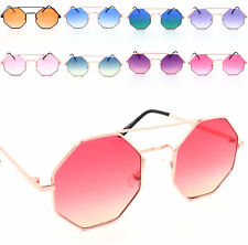 Fashion Women Oversized Metal Frame Octagon Sunglasses Ladies Pink Lens