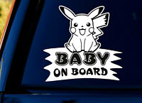 Baby On Board SELF-ADHESIVE STICKER Sign Child Kids Car Window Pokemon WHITE+