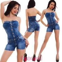 Salopette donna jeans overall tutina bandeau shorts pantaloncini nuova H530