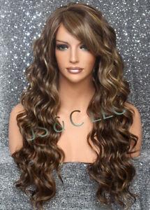 Human hair blend wig Full Heat OK Wavy Long Wig Carmel mix Layered 8/27/613 WBKW