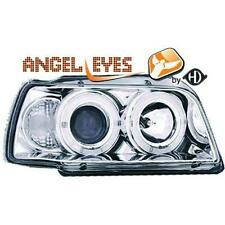 Coppia Fari Fanali Anteriori Tuning RENAULT CLIO 91-96 cromati con anelli ANGEL