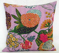 Pink Floral Kantha Cushion Cover Indian Hand Embroidered Pillow Sham Boho Throw