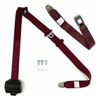 3Pt Bench Seat Belt Conversion Burgundy Retractable Standard Buckle Ea