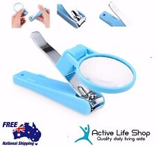 Nail Clipper With Magnifier Safe Magnifying Vision Aid Manicure Pedicure PREMIUM