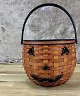 Longaberger Orange Jack-o-Lantern Halloween Trick Or Treat Pumpkin Black Basket