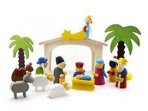 Wooden Nativity Scene Playset | 15 pieces | Christmas Decoration | set Xmas