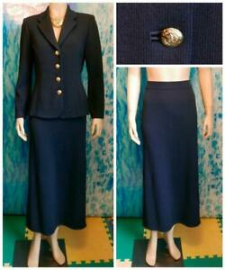 St. John Knits Basics Navy Blue Jacket Skirt S 4 6 2pc Suit Gold Buttons Classic