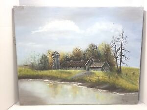 Vintage Painting on Canvas of A Barn by the Pond Signed & Dated 1981 16 X 20