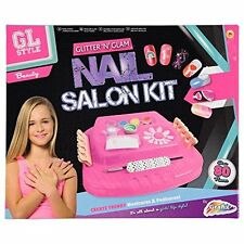 Enfants filles paillettes n glam nail art kit manucure/pédicure fashion beauty set