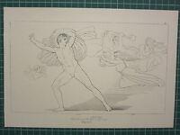 1880 Aufdruck John Flaxman Aeschylus Mythologie ~ Choephori Orestes Faires