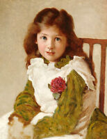 Oil painting Portrait of a young girl with red flowers seated on chair on canvas