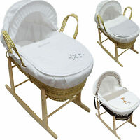 Baby Moses Basket With Mattress, Cover, Quilt, Hood, Dressing and Rocking Stand
