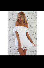 White Lace Off The Shoulder Summer Dressy Party Casual Dress Size M Medium 10-12