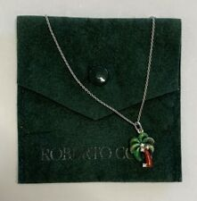 Roberto Coin Tiny Treasures Enamel Diamond Palm Tree Necklace 18K White Gold