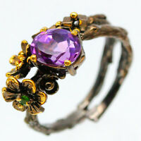 Free size Silver ring Natural Amethyst 9x7mm. 925 Sterling Silver Ring / RVS117