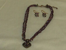 "Vintage AVON Purple & Copper Bead Necklace & Earrings 16"" + 3"" Ext. EXC"