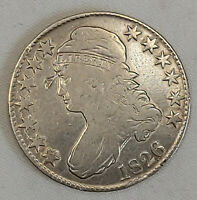1826 CAPPED Bust HALF Dollar FINE Details, Full Date Circulated US Currency