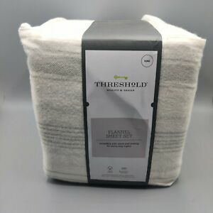 Threshold Gray Stripe on Ivory King 2 piece Sheet Set Soft Cotton Flannel