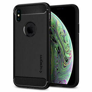 iPhone XS Case, Spijen Rugged Armor Shockproof Protective Cover - Matte Black