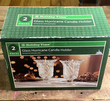"""Holiday Time - Hurricane Glass Centerpiece Candle Holder Glass 7"""" Tall -Set of 2"""