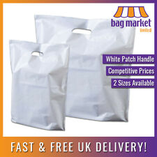 More details for white patch handle carrier bags | fashion/gift/shopping/retail/boutique/poly